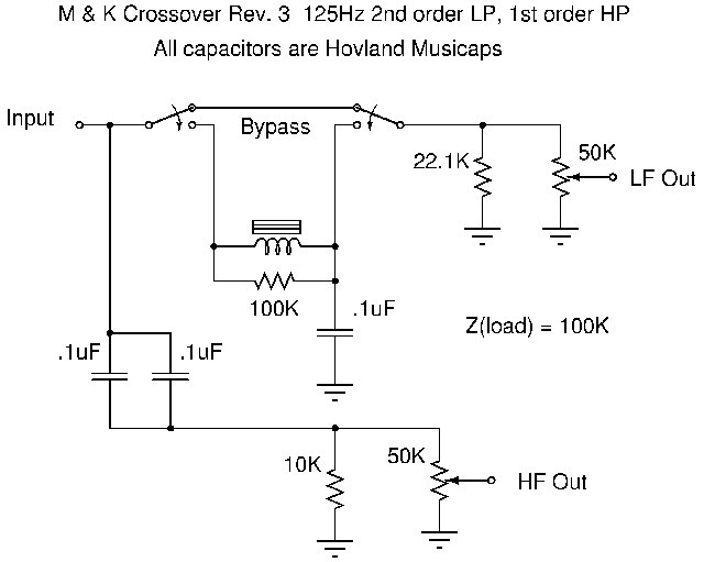 a passive line level two way crossover rh kevin kevino org XLR 3-Way Passive Crossover Series Crossover Schematic
