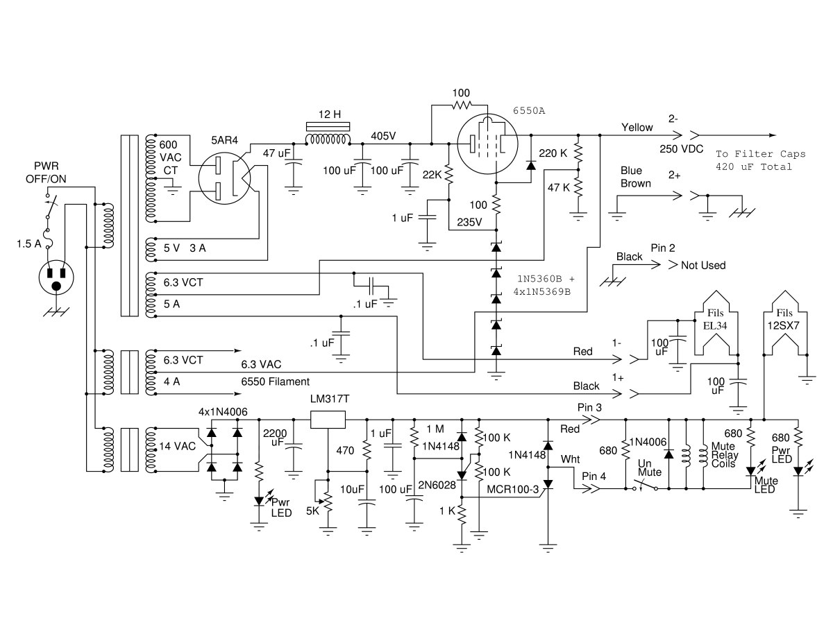 A High Performance Vacuum Tube Headphone Amplifier Volt Power Supply Schematic